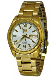 Seiko5 Men's Automatic Gold Plated Day/Date watch,  case with Glass Bac