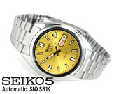 Seiko Men's SNXS81K Seiko 5 Automatic Gold Dial Stainless Steel Watch