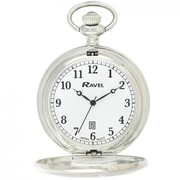 Ravel Polished Dated Pocket Watch Silver R1001.10