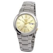 Seiko 5 Men Silver Stainless Steel Automatic Watch Gold Dial SNKA03K1