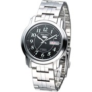 Seiko 5 Men Silver Stainless Steel Automatic Watch Black Dial SNKL91K1