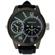 Henley Dual Time Men's Quartz Watch Black Silicone Strap H02065.3